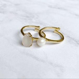 Kate Spade Gold Pearl Stackable Rings